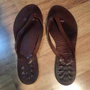 J Crew Leather Flip Flops